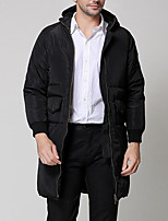 Men's Long Down Coat,Simple Going out Casual/Daily Solid-Others White Duck Down Long Sleeves