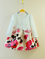 Girl's Floral Dress,Cotton Polyester Summer Long Sleeve