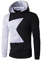 Men's Going out Casual/Daily Hoodie Color Block Hooded Micro-elastic Cotton Polyester Long Sleeve Fall Winter