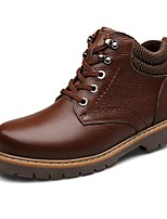 Men's Boots Fashion Boots Bootie Light Soles Real Leather Cowhide Nappa Leather Winter Casual Outdoor Office & Career Flat HeelBrown