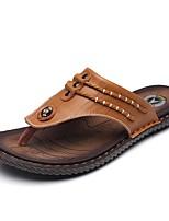 Men's Slippers & Flip-Flops Comfort PU Summer Casual Flat Heel Yellow Dark Blue Black Flat