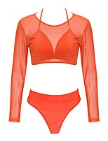 Women's Fast Dry Soft Casual Mesh/Net Silk Cloth Diving Suit Long Sleeves Swimwear-Swimming Beach Summer Grid/Plaid