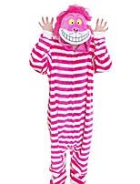 Kigurumi Pajamas cheshire cat Festival/Holiday Animal Sleepwear Halloween Fashion Stripe Embroidered Flannel Fabric Cosplay Costumes Kigurumi For