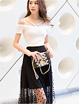 Women's Casual/Daily Simple Tank Top,Solid Strap Short Sleeves Cotton
