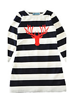 Girl's Striped Dress Cotton Spring Fall Long Sleeve Autumn Winter Antlers Kids Girls Dress