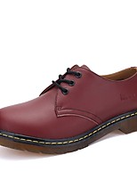 Men's Oxfords Comfort Synthetic Microfiber PU Spring Fall Casual Lace-up Flat Heel Dark Brown Ruby Black Flat