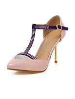 Women's Sandals Basic Pump Summer PU Wedding Party & Evening Office & Career Rhinestone Stiletto Heel Beige Purple Blushing Pink 2in-2