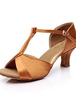 Feminino Latina Paetês Seda Sandálias Interior Fivela Salto Personalizado Dourado Preto Prata Fúcsia Marron 5 - 6,8 cm Personalizável