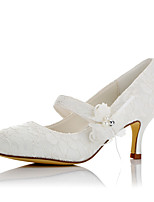 Women's Heels Comfort Fall Winter Lace Satin Wedding Dress Party & Evening Applique Ivory 2in-2 3/4in