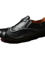 Men's Loafers & Slip-Ons Comfort Fall Winter Cowhide Casual Outdoor Office & Career Flat Heel Black Brown Flat