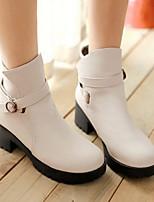 Feminino Sapatos Couro Envernizado Couro Ecológico Outono Inverno Coturnos Botas Salto Grosso Ponta Redonda Botas Curtas / Ankle Para