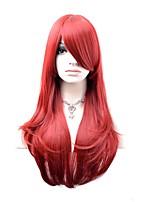 Femme Perruque Synthétique Sans bonnet Long Ondulation Naturelle Rouge foncé Perruque Naturelle Perruque Déguisement