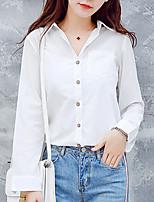 Для женщин На выход На каждый день Лето Осень Рубашка Рубашечный воротник,Простое Однотонный Длинный рукав,Полиэстер,Средняя