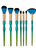 7 Pcs Gourd Shape Makeup Brush Tools Kit Mermaid Make Up Brush Beauty Green Blush Powder Foundation Eyebrow Brush