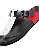 Для мужчин Сандалии Удобная обувь Лето Полиуретан Повседневные Черный Черно-белый Красный/Белый На плоской подошве