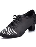 Women's Latin Lycra Heels Indoor/Professional Rhinestone Chunky Heel Black 1 - 1 3/4
