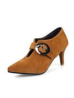 Women's Heels Comfort Summer Fall Suede Walking Shoes Dress Party & Evening Office & Career Buckle Stiletto Heel Black Yellow Brown 2in-2