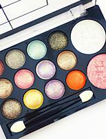 12 Glitter Shimmer Color Eyeshadow+2  Color Blush Blush+Sombra para Olhos Espelho Pincéis de Maquiagem Secos Mate Brilho Homens Cara