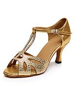 Women's Latin Lycra Heels Professional Rhinestone Cuban Heel Gold 2
