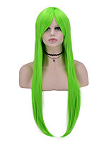 Women Synthetic Hair Long Straight Wig High Temperature 70cm Long Green Color