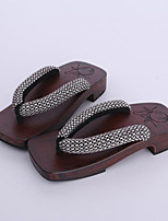 Women's Clogs & Mules Clogs Spring Fall Cotton Fabric Casual Brown Under 1in