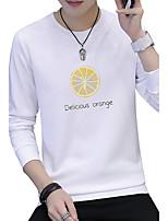 Men's Plus Size Fashion Slim Round Neck Orange Letter Pattern Sweatshirt Cotton Spandex