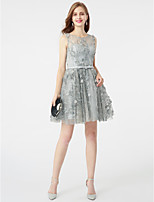 A-Line Jewel Neck Short / Mini Lace Cocktail Party Dress with Bow(s) Sash / Ribbon by TS Couture®
