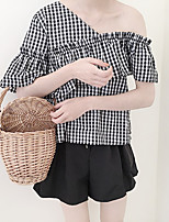 Women's Going out Cute Summer T-shirt,Houndstooth Off Shoulder Short Sleeve Cotton Medium