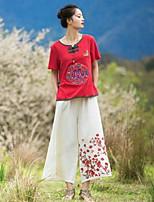 Damen Solide Stickerei Retro Chinoiserie Lässig/Alltäglich T-shirt,Rundhalsausschnitt Kurzarm Baumwolle