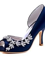 Femme Chaussures de mariage Escarpin Basique Satin Elastique Printemps Eté Mariage Soirée & Evénement Cristal Talon AiguilleBleu de