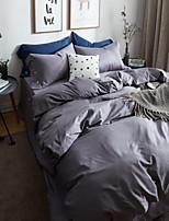 Solid 4 Piece Cotton Cotton 1pc Duvet Cover 2pcs Shams 1pc Fitted Sheet