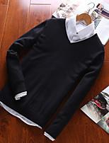 Herren Standard Pullover-Übergröße Lässig/Alltäglich Einfach Aktiv Punk & Gothic Solide Rundhalsausschnitt Langarm Baumwolle Alle Saisons
