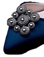 Vintage Square Flower Shape Crystal Detachable Decorative Accents Plastic Shoe Clip Anywhere Shoe Accessories Ornaments 1 Pair