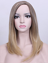 Medium Length Straight Brown Ombre Blonde High Heat Resistant Full Synthetic Wigs