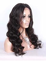 Mujer Pelucas de Cabello Natural Cabello humano Encaje Completo Integral sin Pegamento 130% Densidad Ondulado Ondulado Grande Peluca Negro