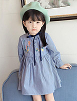 Girl's Casual/Daily Striped Embroidered Dress,Rayon Spring Fall Long Sleeve