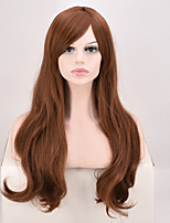 Long Wavy Synthetic Hair wig High Temperature Fiber brown Color 22inch Black Women Wig