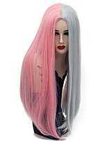 Women Synthetic Wig Capless Long Straight Pink / Purple Natural Wig Party Wig Halloween Wig Carnival Wig Costume Wigs