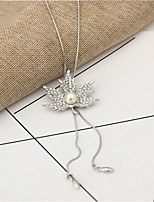 Women's Pendant Necklaces Rhinestone Leaf Imitation Pearl Alloy Fashion Jewelry For Wedding Party Halloween Birthday Daily Club