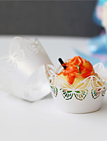 50pcs/lot Six butterflies Laser Cut Cupcake Wrappers  Wedding Party Birthday Cake Decoration Holder