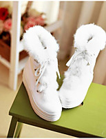 Feminino Sapatos Couro Ecológico Inverno Conforto Botas Para Casual Branco Bege Rosa claro