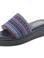 Damen Slippers & Flip-Flops Komfort Stoff Sommer Normal Walking Kombination Creepers Weiß Blau 5 - 7 cm