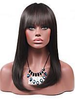 Long Noir Ondulation naturelle Cheveux Synthétiques Sans bonnet Perruque Naturelle
