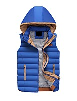 Men's Regular Down Coat,Simple Casual/Daily Striped-Polyester Polypropylene Sleeveless