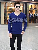 Standard Cardigan Da uomo-Casual Semplice A strisce A V Manica lunga Cashmere Inverno Medio spessore Spesso Media elasticità