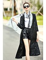 Feminino Casaco Longo Casual Simples Outono,Sólido Longo Algodão Poliéster Decote V Manga Longa