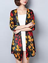 Для женщин На выход На каждый день Лето Осень Блуза V-образный вырез,Простое Богемный Цветочный принт С принтом Рукав до локтя,Полиэстер,