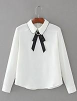 Для женщин На выход На каждый день Весна Осень Рубашка Рубашечный воротник,Простое Уличный стиль Однотонный Длинный рукав,Хлопок,Тонкая