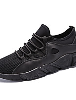 Men's Athletic Shoes Comfort Light Soles Spring Fall Breathable Mesh PU Net Tulle Cycling Shoes Athletic Outdoor Lace-up Flat Heel Black