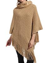 Women Vintage Cloak Cape Bohemian Tassels Fringed Shawl Wrap Scarf Wool Acrylic Rectangle Solid Spring Fall Purple/Grey/Wine/Khaki